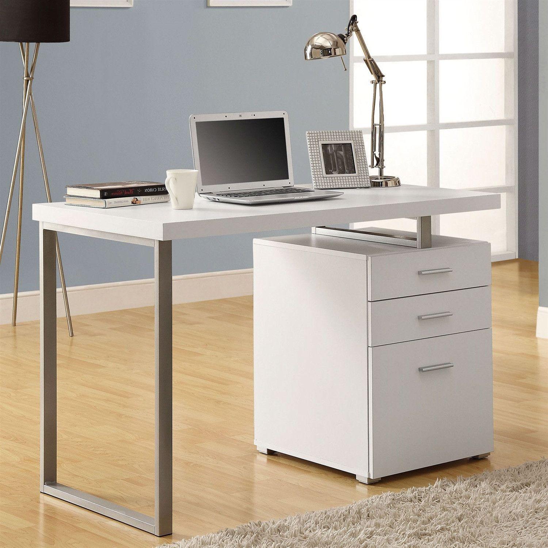 Left Or Right Facing Modern Office Desk In White Finish With File Drawers Modern Office Desk Office Desk White Desks
