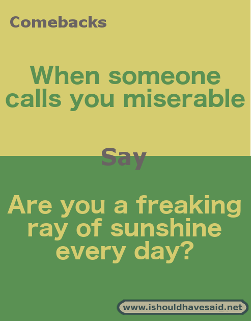 How to respond when someone calls you miserable | I should have said