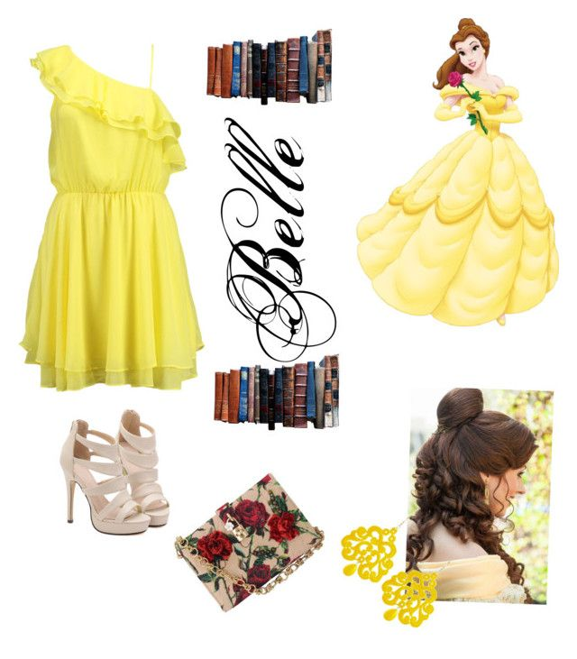 Belle by aaliyah-rivera on Polyvore featuring polyvore, fashion, style, Bik Bok, Dolce&Gabbana, Tità Bijoux and Disney