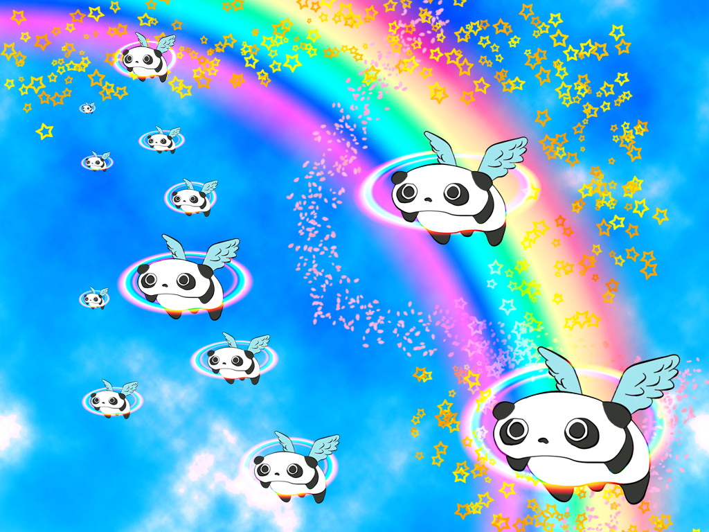 Tare panda Pink fluffy pandicorns floats on a rainbow ...