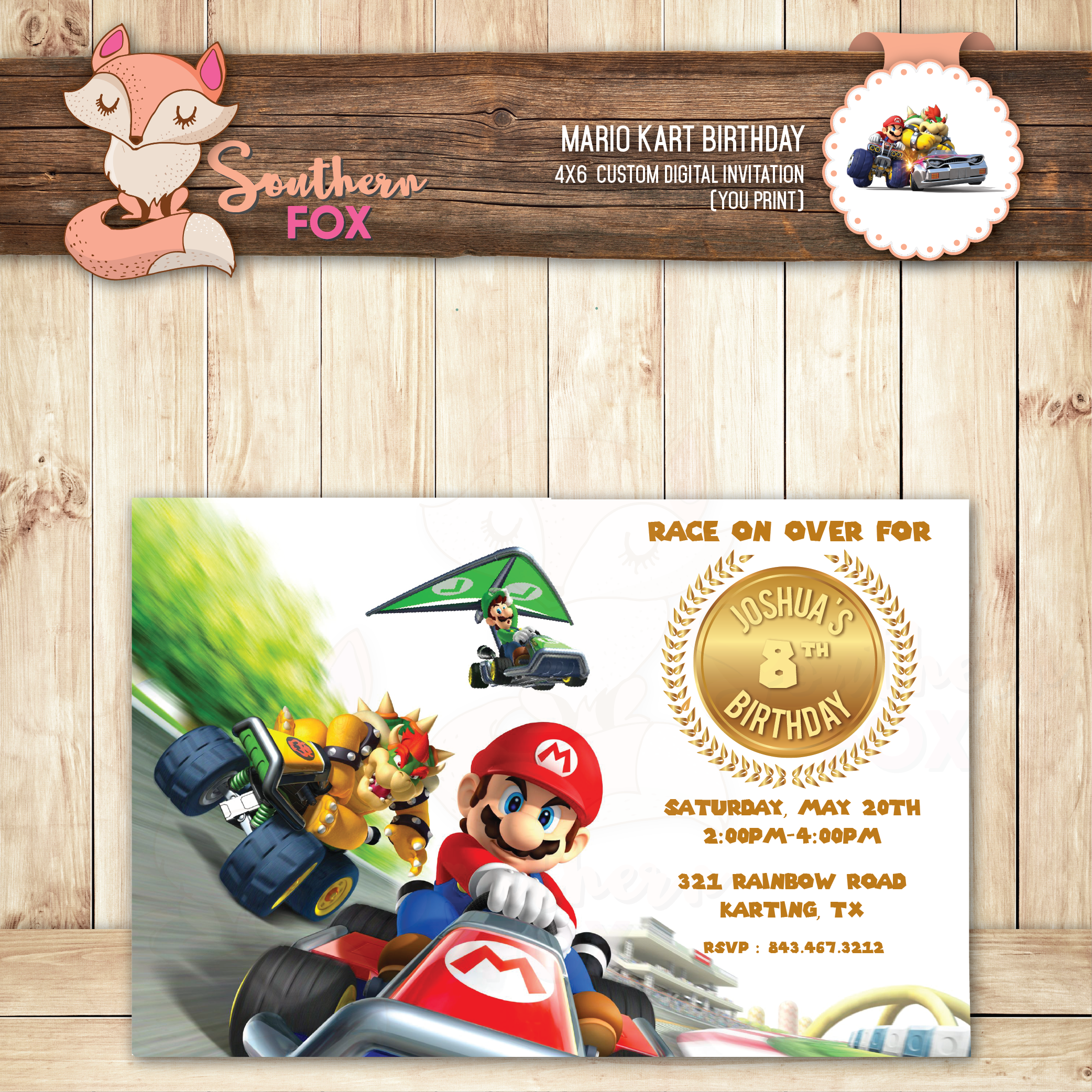 Mario Kart Invitation-Digital Birthday Invitation- Mario Kart ...