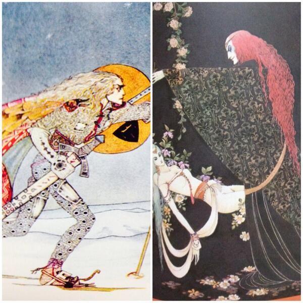 kazeto(風兎)@Catodywyllwch 『太陽の東・月の西』〈白い国の姫君〉右)話の内容は『聖パンプキンの呪文』の〈翼ある天使の花嫁〉の逆バージョンで探しに行くのは王様の方(左)は内田氏のオーベロン王 彼女の方が絵が上手いです(笑)