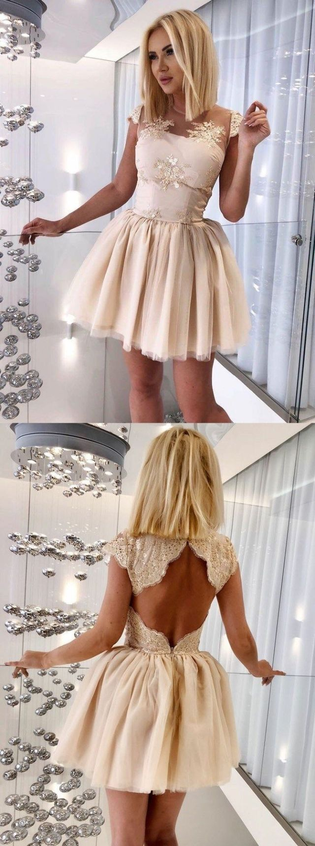 Aline jewel cap sleeves open back short champagne homecoming dress