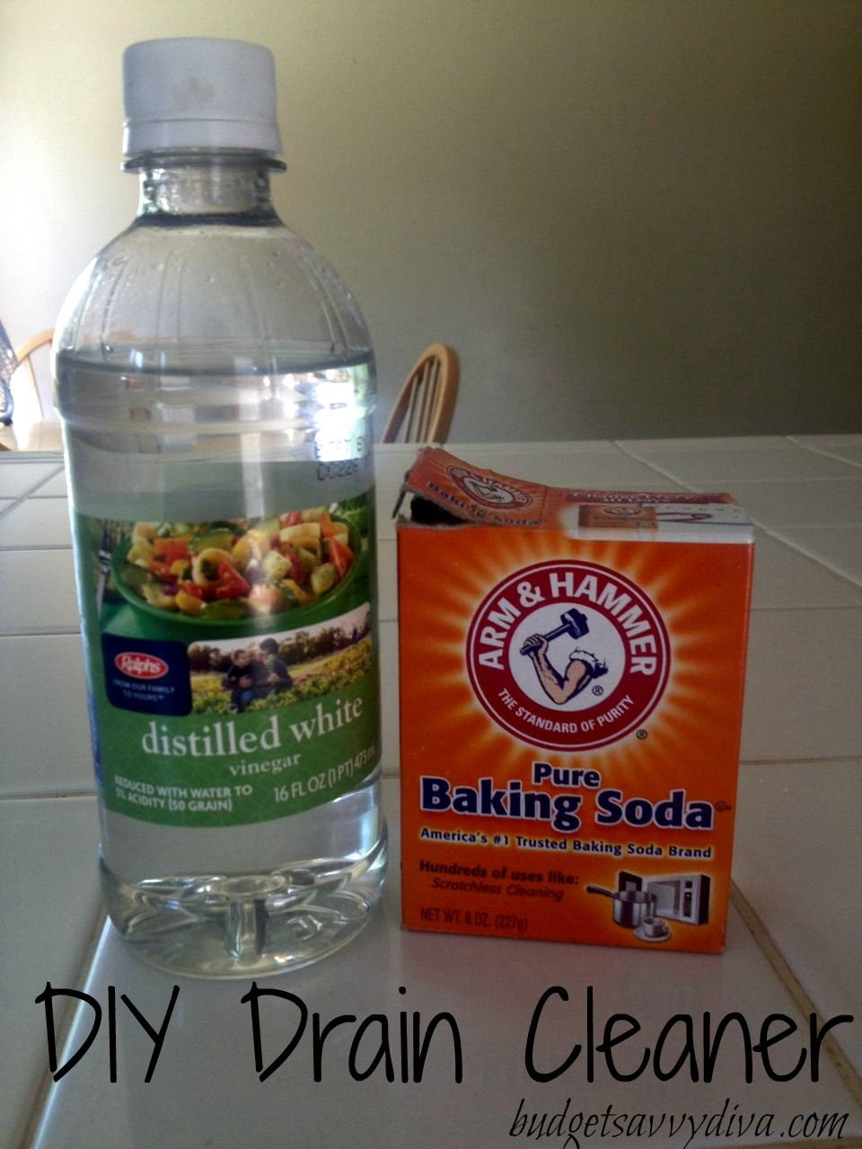 pour 3/4-1 cup of baking soda into the drain. pour 1/2 cup vinegar