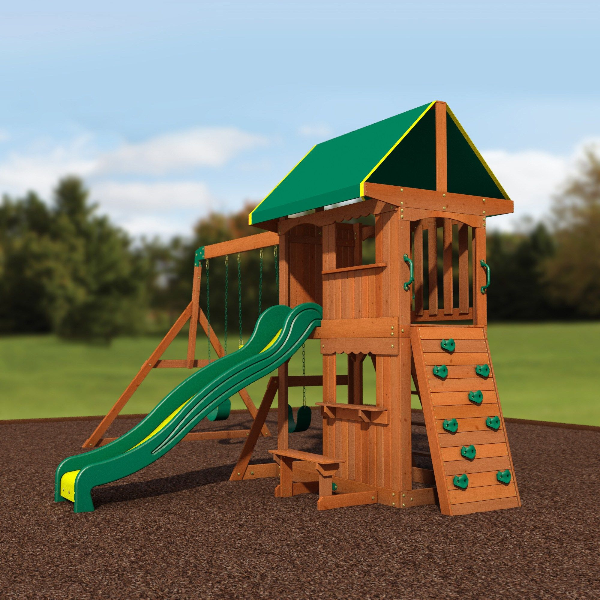 Somerset Wooden Swing Set (With images) | Wooden swing set ...