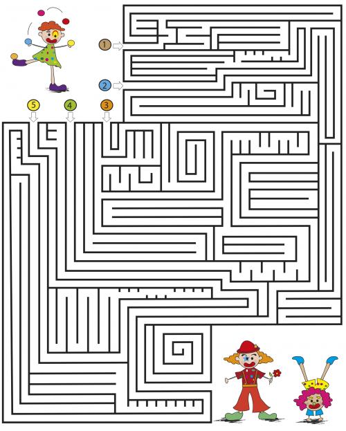 Medium Kids Maze Games – Clowns