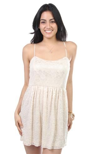 solid drop waist lace casual dress