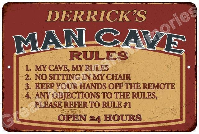 Man Cave Rules : Man cave rules rustic chic tin gift décor 8x12 metal sign 8124325