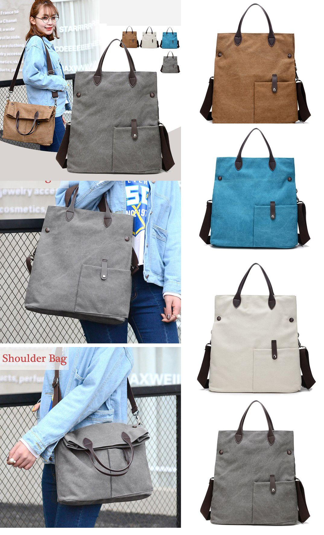 Canvas Womens Dual-use Handbag Rucksack Shoulder Bag Shopping Bag Satchel Bag