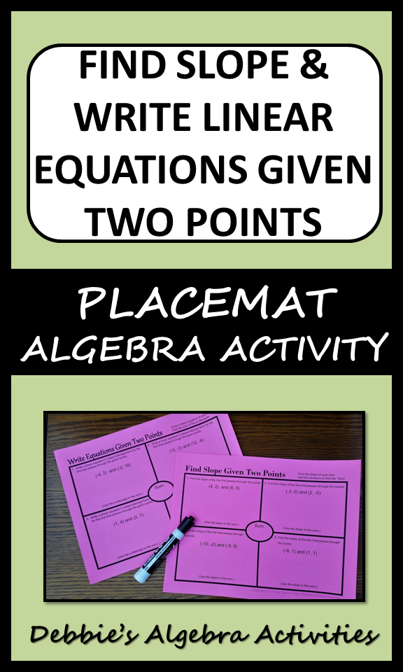 Find Slope & Write Linear Equations Given Two Points