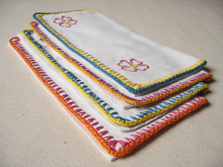 4 Porte Serviette De Table En Coton Brode Range Serviette Retro Broderie Fleurs Colorees Pochette A Serviette Vintage Fr French Vintage Etsy Etsy Teams