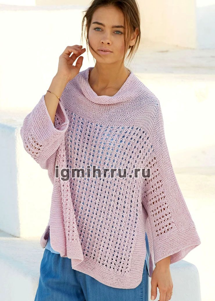 легкий розовый пуловер с дырочками вязание спицами кофты