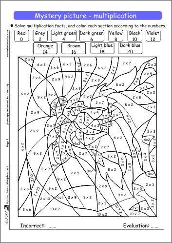 Multiplication Coloring Page Carpma Boyama Sayfalari 5 Sinif