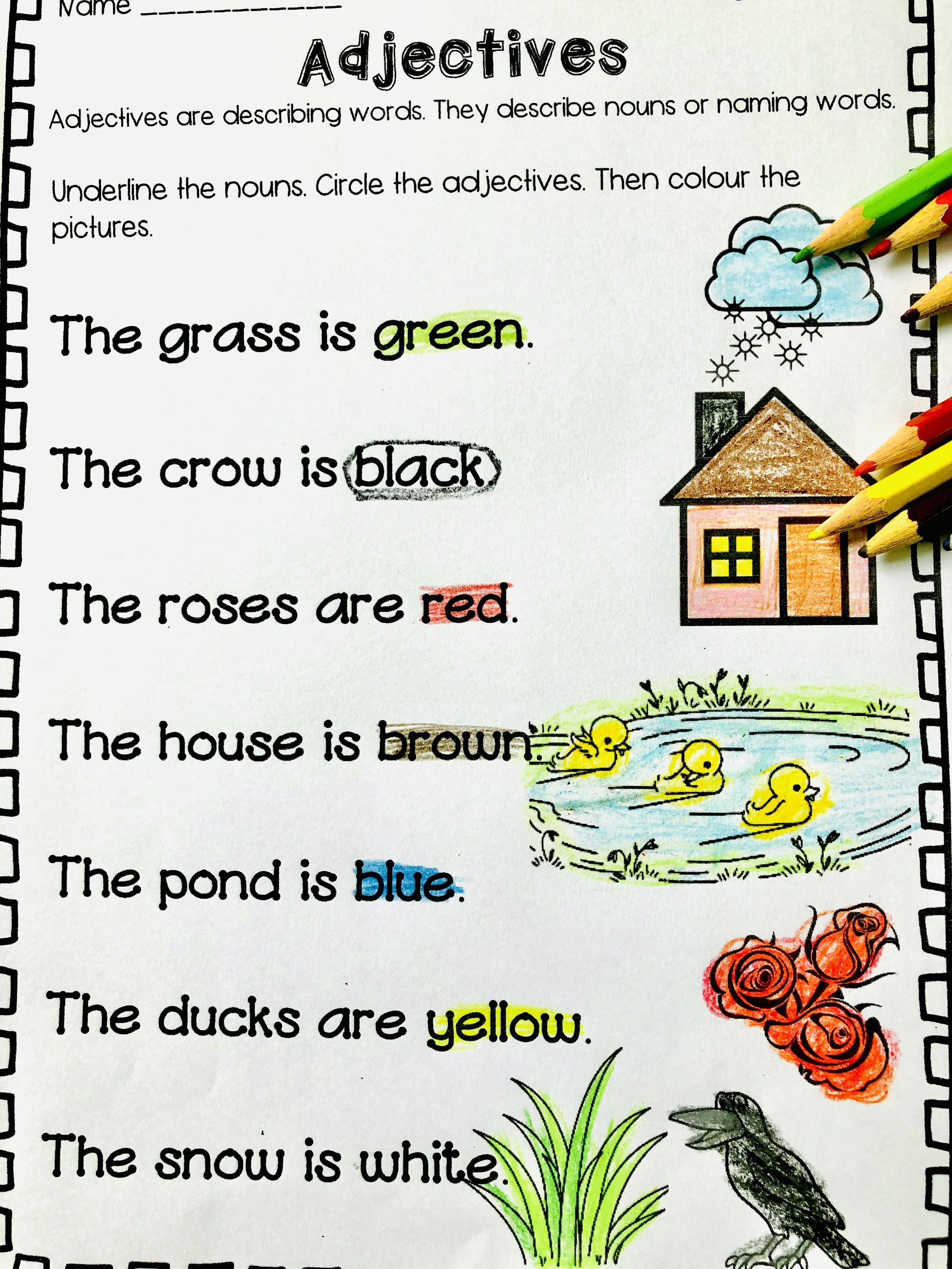 Circle The Adjectives In The Sentences And Colour The