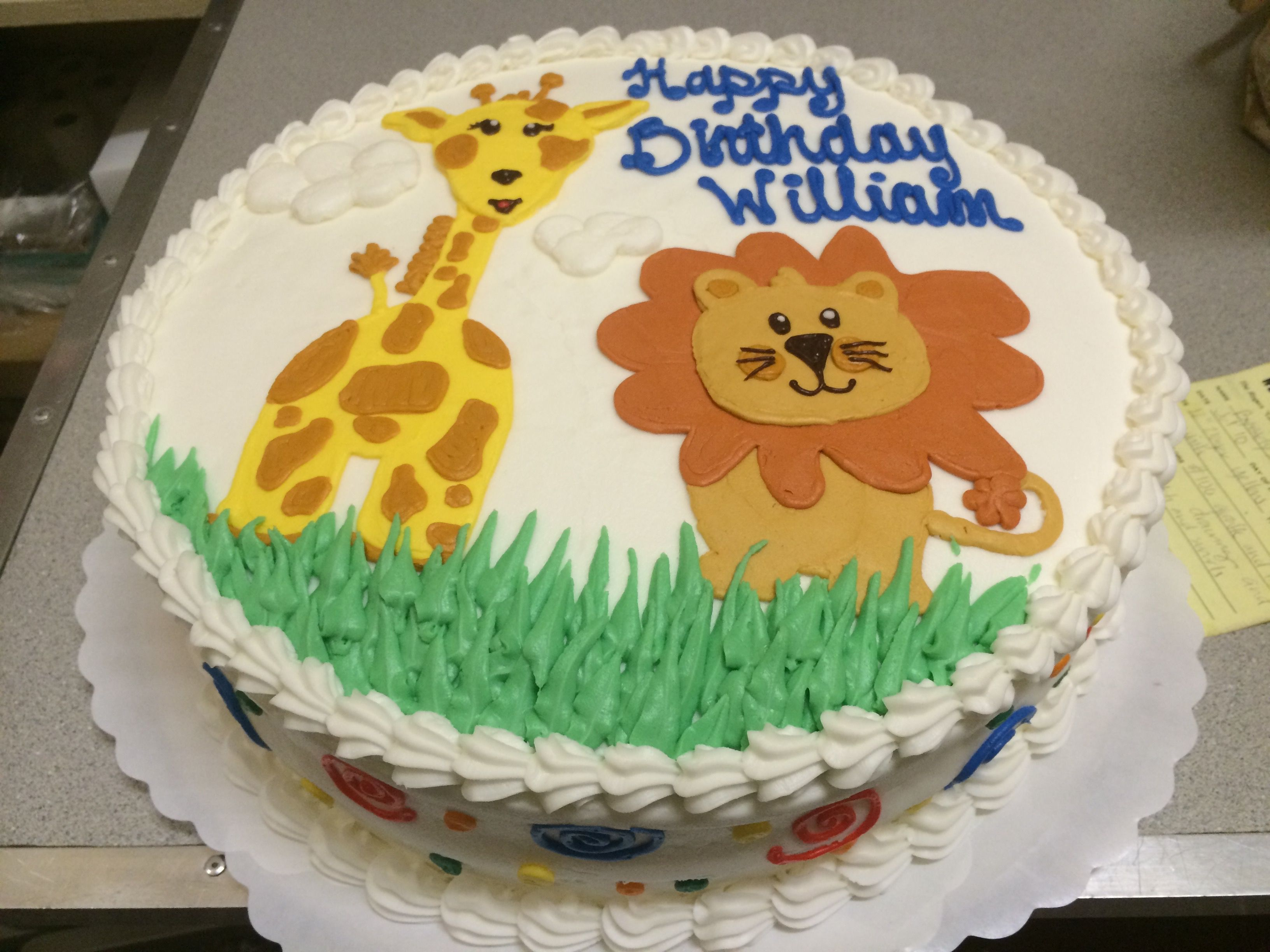 Groovy Birthday Cake With Cute Animal Theme Lion And Giraffe Westhampton Personalised Birthday Cards Beptaeletsinfo