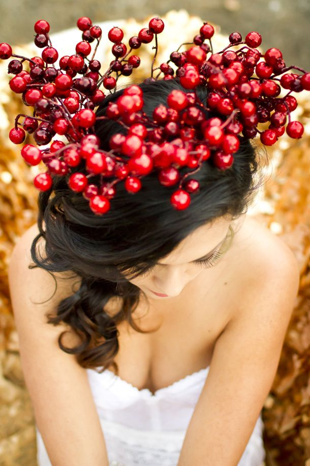 Red berry floral crown | SouthBound Bride | http://www.southboundbride.com/spanish-inspired-styled-boudoir-by-angie-capri | Credit: Angie Capri