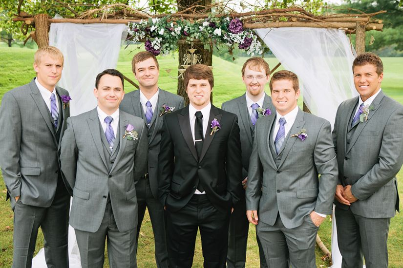 Fall wedding. Black tux for the groom. Grey suits for the ...