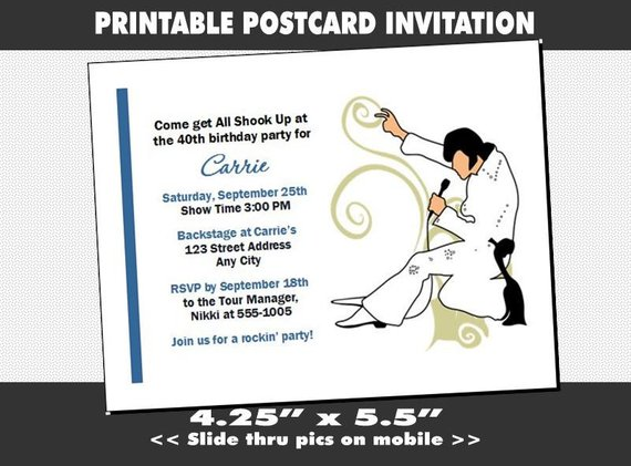 Elvis Inspired Party Invitation Printable Birthday Music Theme Admit One Performer Event