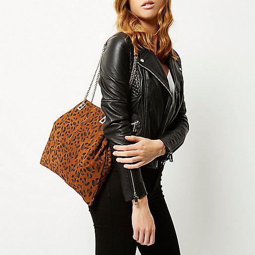 61114d8a536 Bruine suède tas met luipaardprint en ketting - shopper/draagtassen -  tassen/portemonnees - dames