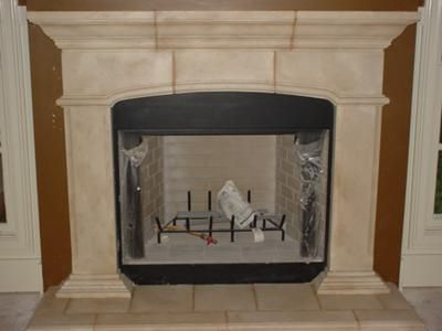cast plaster mantle painted into sandstone for our new used mantel we bought for 250. Black Bedroom Furniture Sets. Home Design Ideas