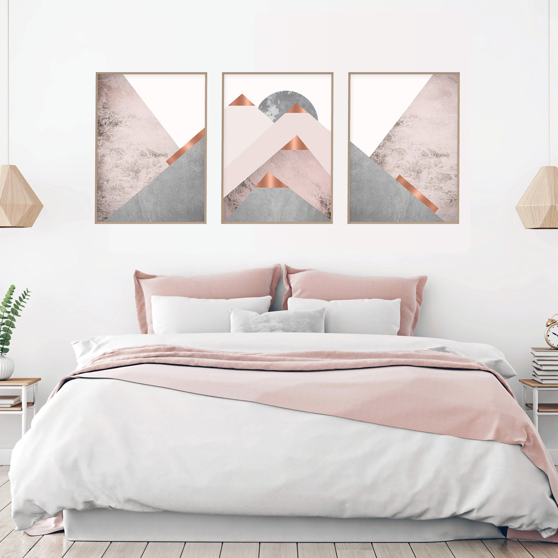 Downloadable Blush Pink Grey And Copper Scandinavian Mountains Etsy Pink And Grey Room Pink Bedrooms Rose Gold Bedroom