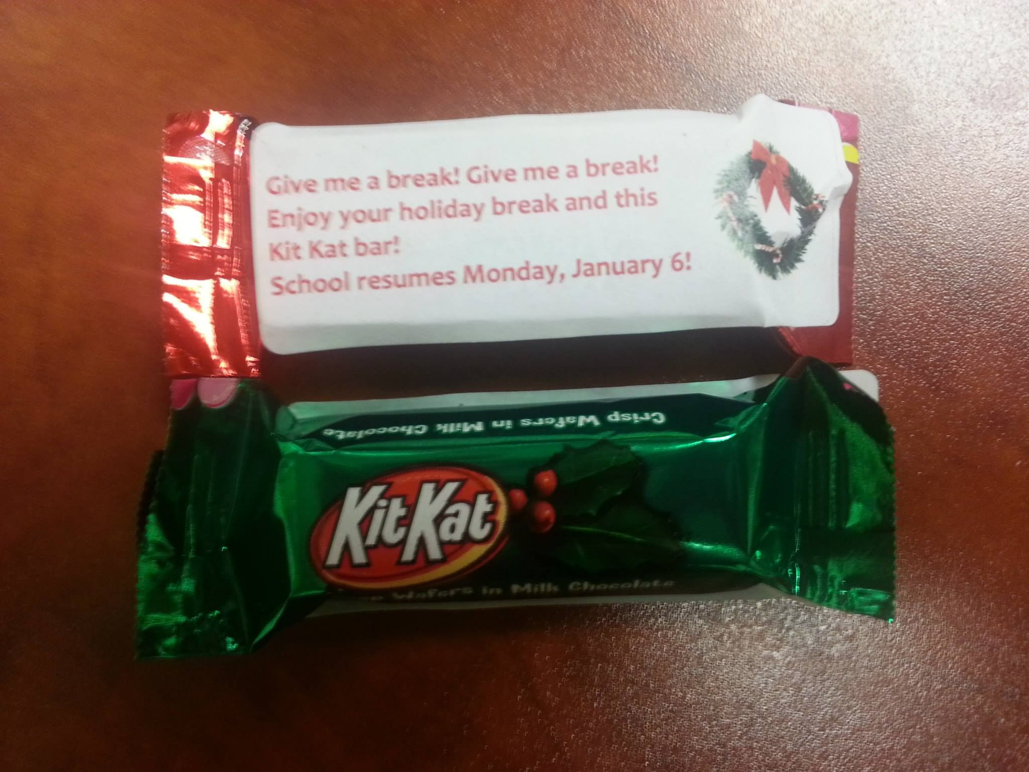 Before the holiday break, Mesa campus faculty/staff handed out treats to our students with a fun reminder that classes will resume Monday, January 6, 2014. Break time!