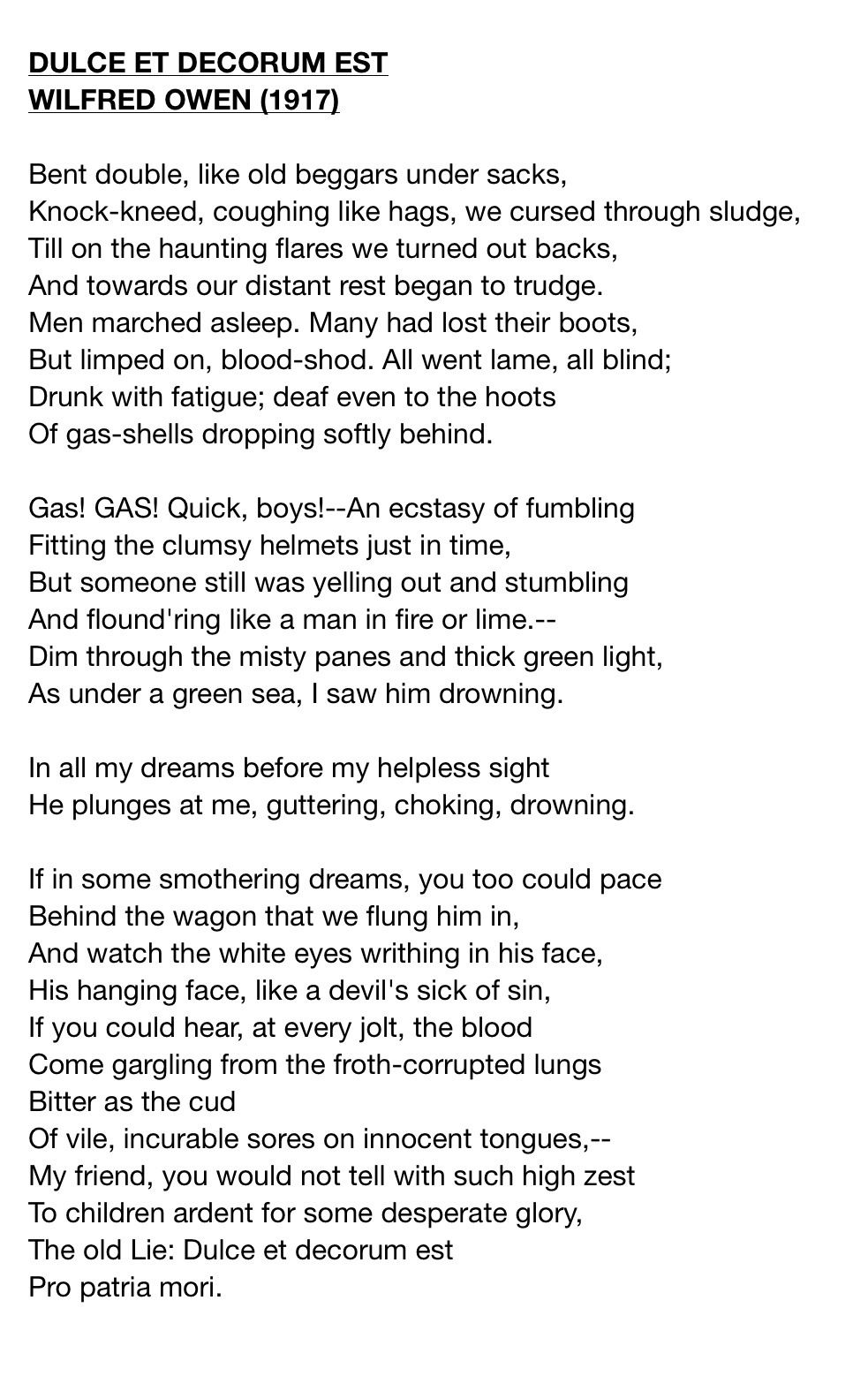 essays on wilfred owens poetry A poem written by the world war one poet, wilfred owen, is 'exposure' this poem is set out to show the reader what the conditions were really like during the first.