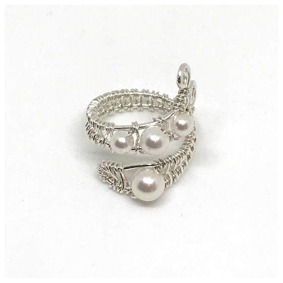 Pearl Ring Sterling Silver Adjustable Wire Wrapped Gift | Itse ...