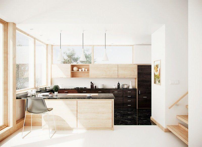 Aménagement cuisine blanche, noire et bois- 35 idées cool Armoire - agencement de cuisine ouverte
