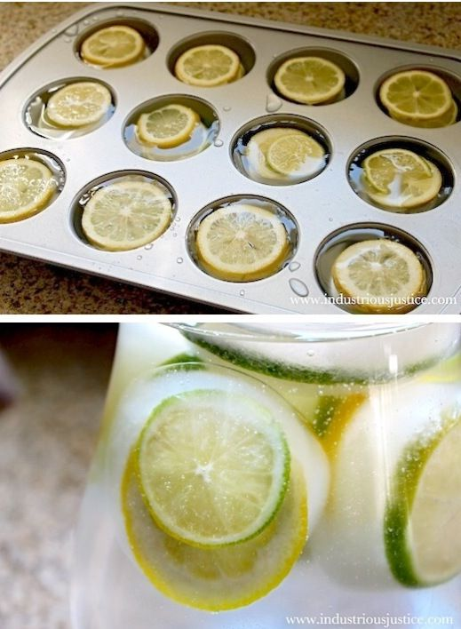Lemon slices in ice cubes. Made in cupcake tray!