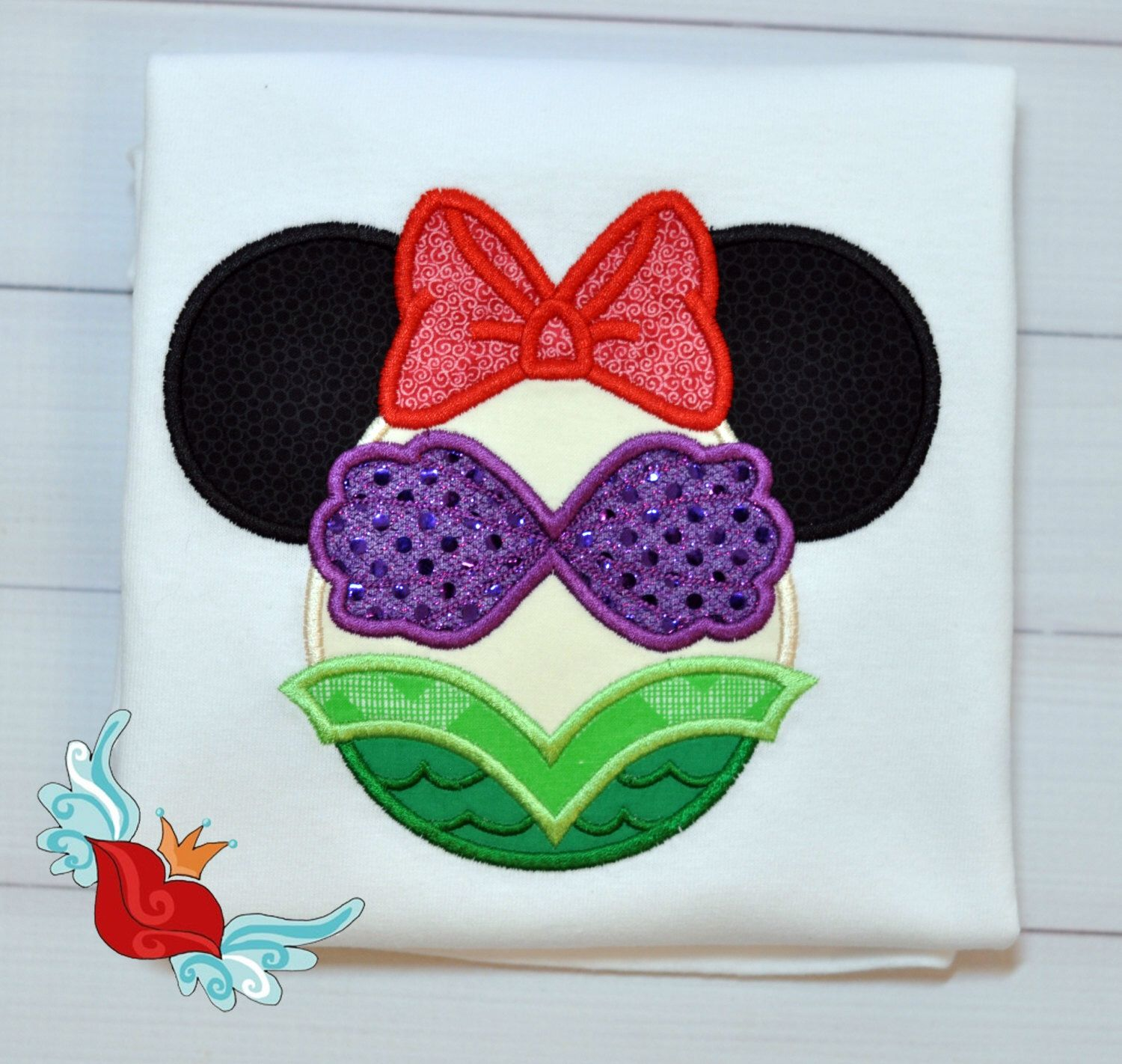 Items similar to Ariel - inspired - Shirt - Personalized - Applique - Ears  - Embroidery - Custom - T-shirt - Little Mermaid - Minnie Mouse on Etsy