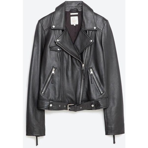 1419956b Zara Basic Leather Jacket ($189) ❤ liked on Polyvore featuring outerwear,  jackets, abrigos, leather, zara, black, lined jacket, real leather jacket,  ...