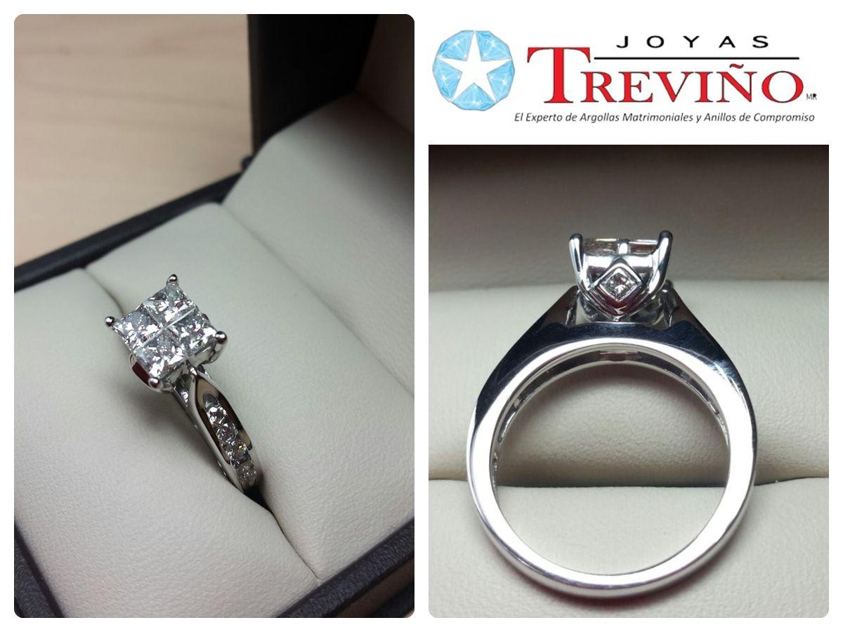 1d06b3586006 Anillo de compromiso en oro blanco 14K con diamantes naturales Corte   Princess Peso  80