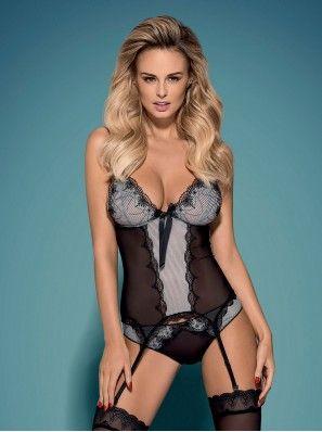 Greyla Corset & Panties www.lintimo.ch | #woman #fashion #lintimo #lintimolingerie #lintimodessous #lingerie #model #dessous #corset #panties #body #sexy #black #grey #schwarz |