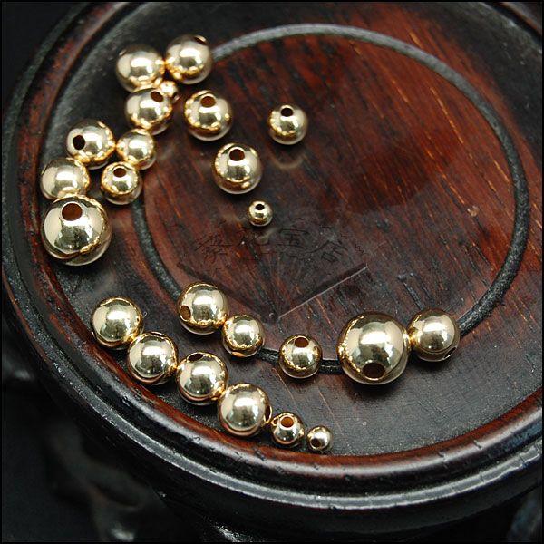 美国原装进口14K金珠3mm4mm5mm6mm圆珠DIY饰品散珠不退色全网最低-淘宝网