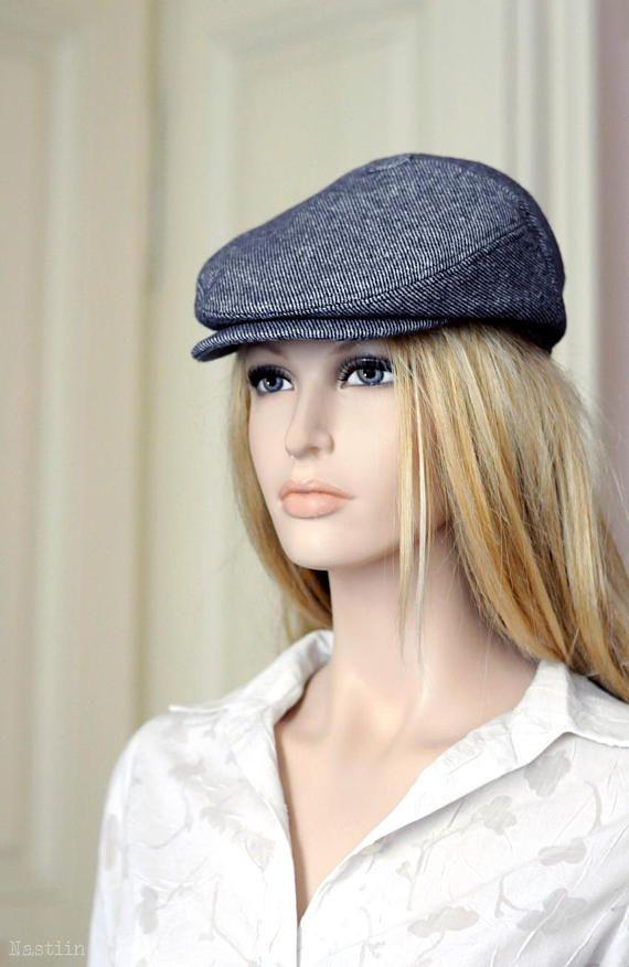 Blue newsboy hat Womens newsboy cap Mens newsboy hat Flat hat ... 473b2a2282a