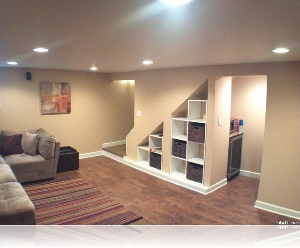 Modern under stairs storage design ideas wilmette basement for Rec room decorating ideas