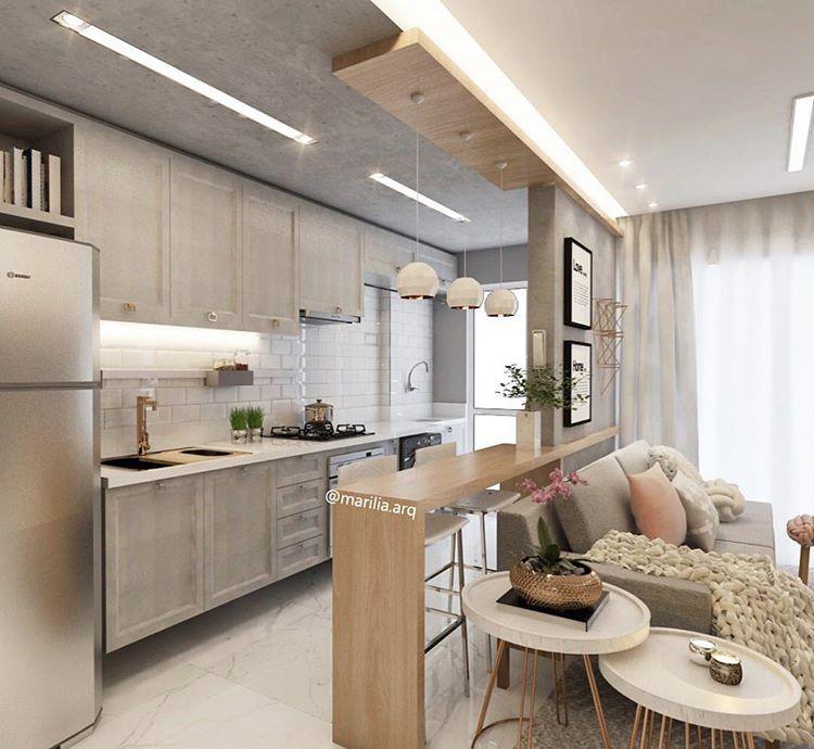 Barras barra en 2019 decoraci n de casas peque as for Cocina abierta al comedor y sala de estar