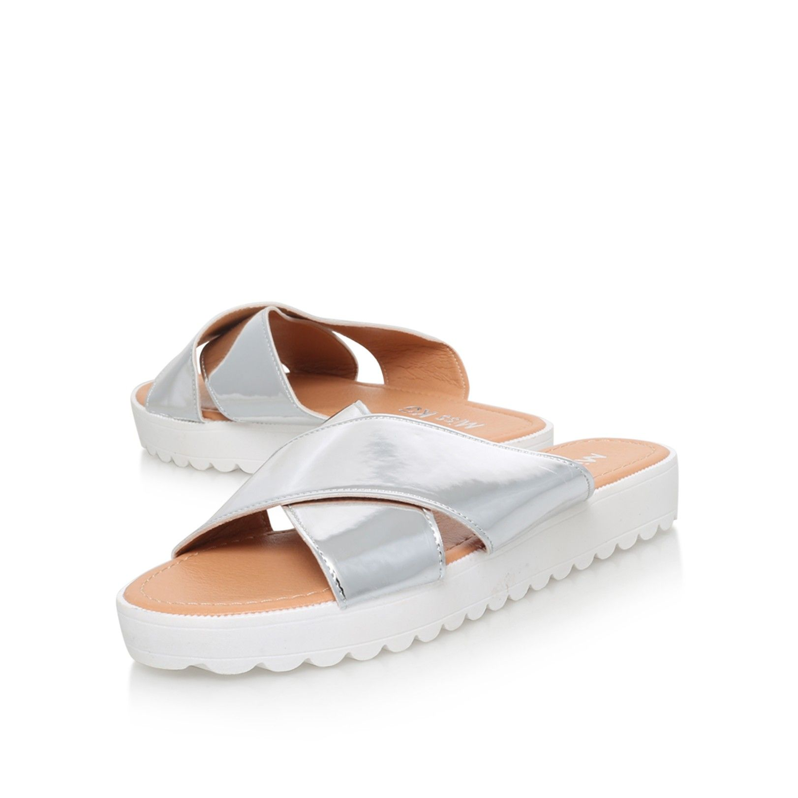 deion silver flat sandals from Miss KG