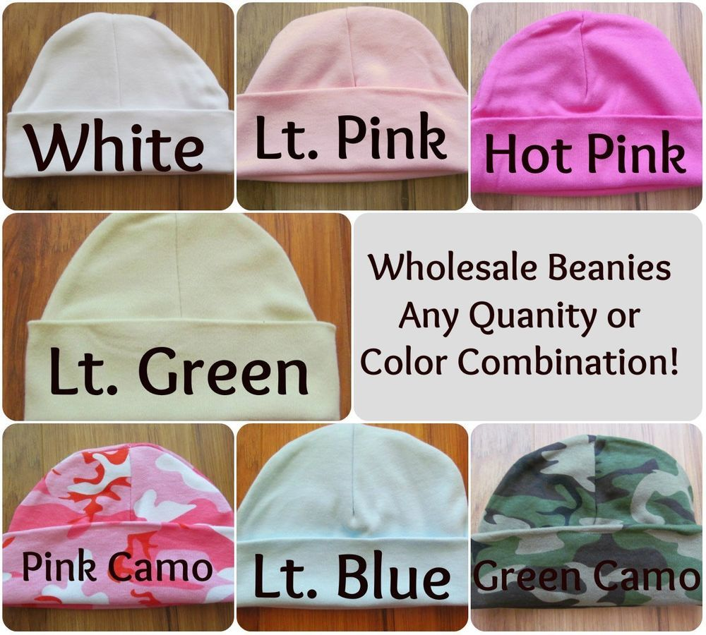 Wholesale Bulk Baby Beanie Hospital Hat White Blue Pink Camo Embroidery  Blanks