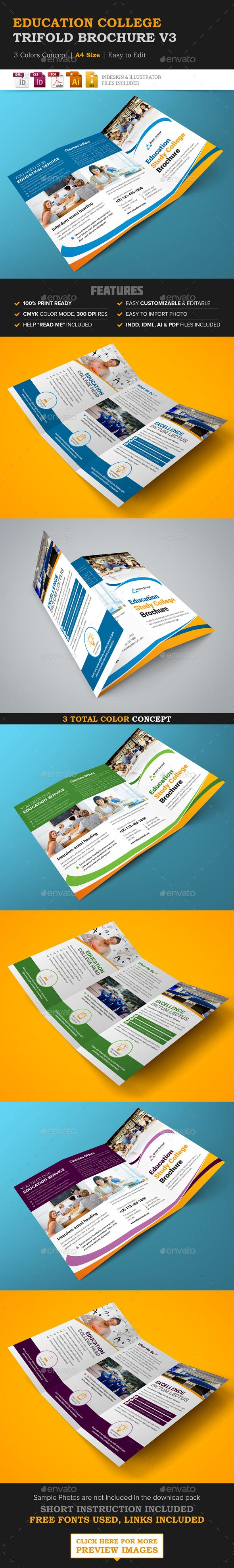 Education College Trifold Brochure v3 | Brochures, College and ...