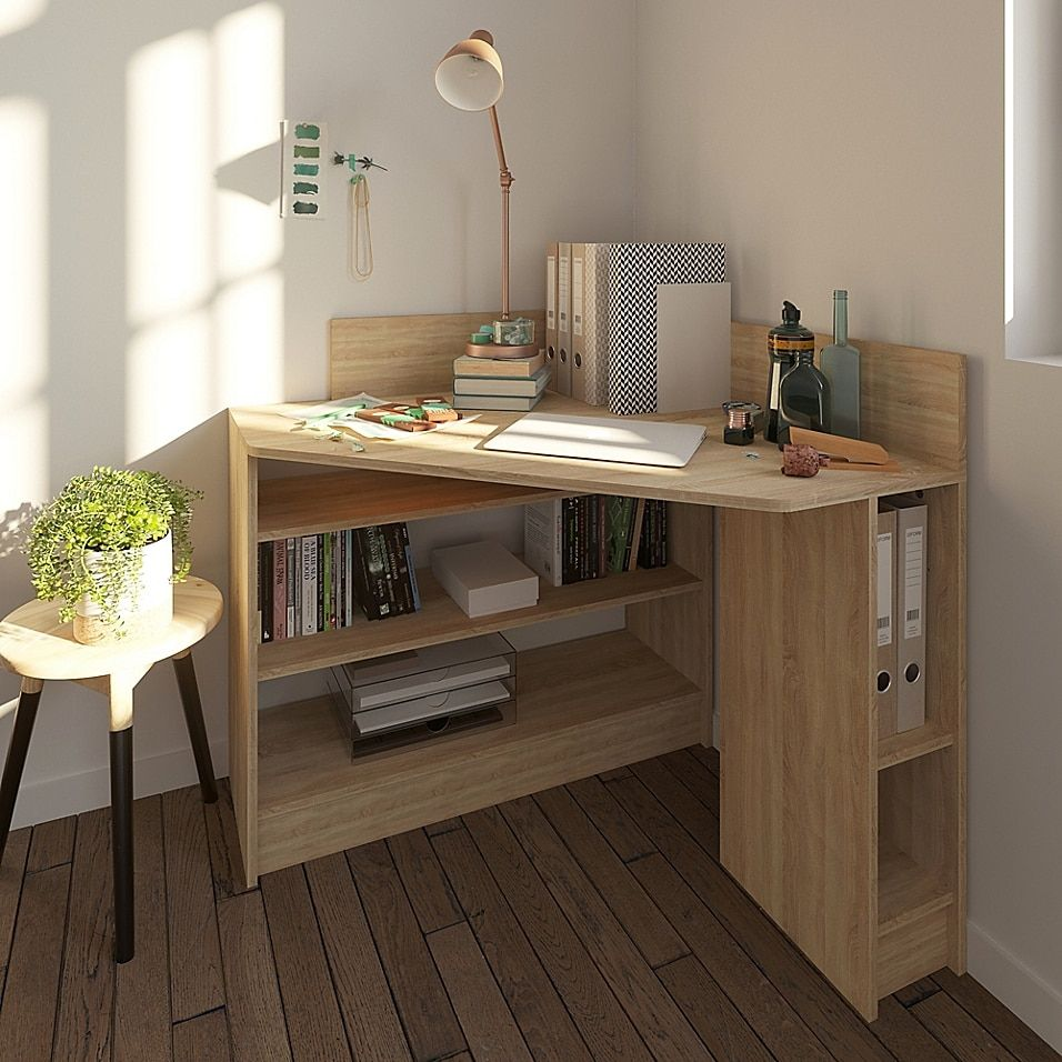 Temahome Corner Desk In White/natural Oak - A great space-saving piece that will be the place where you get things done, the Temahome Corner Desk offers an abundance of open shelving to stay organized. Desk in a nautral finish can be placed in a right-angle corner.