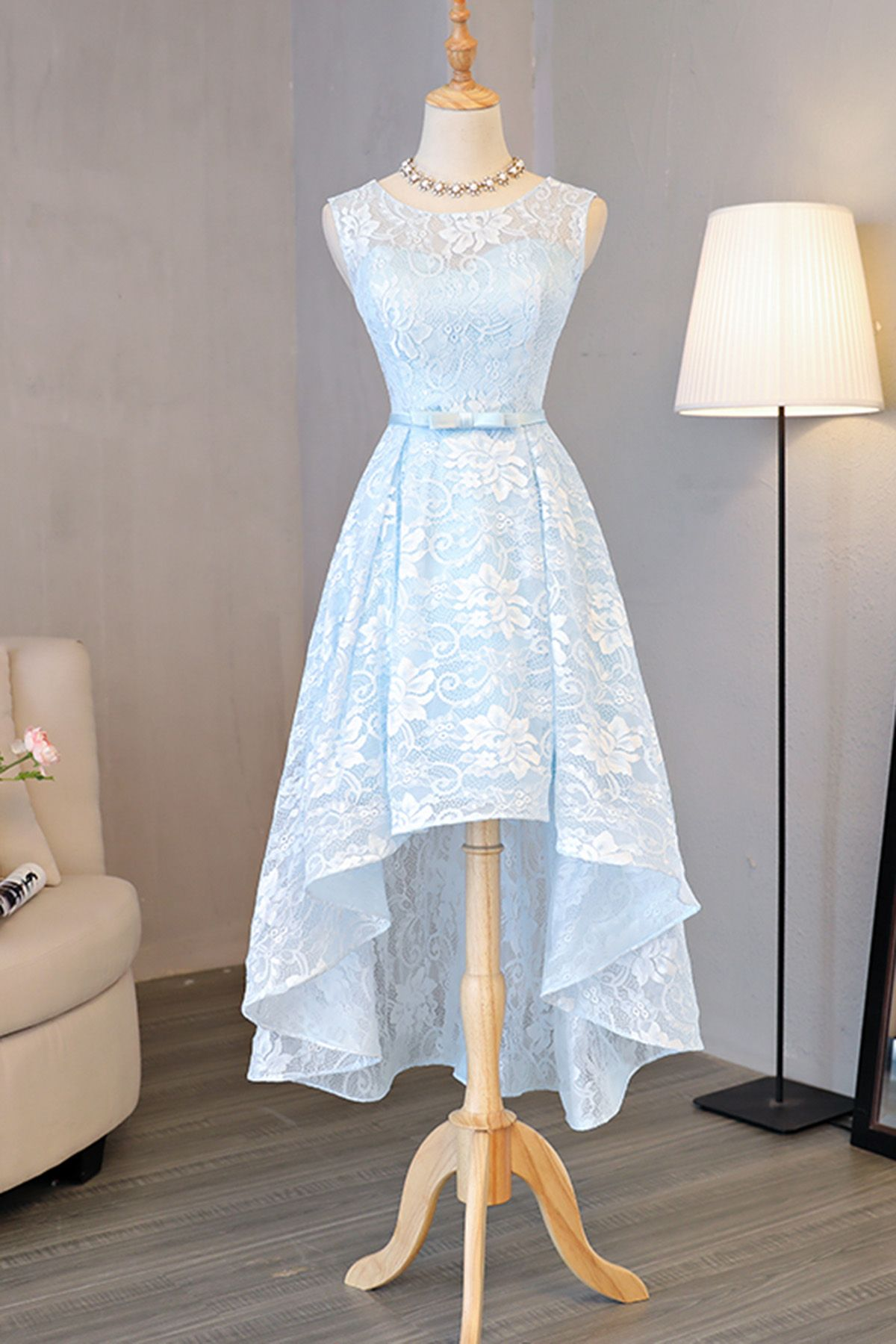 Light blue lace round neck high low halter prom dress bow
