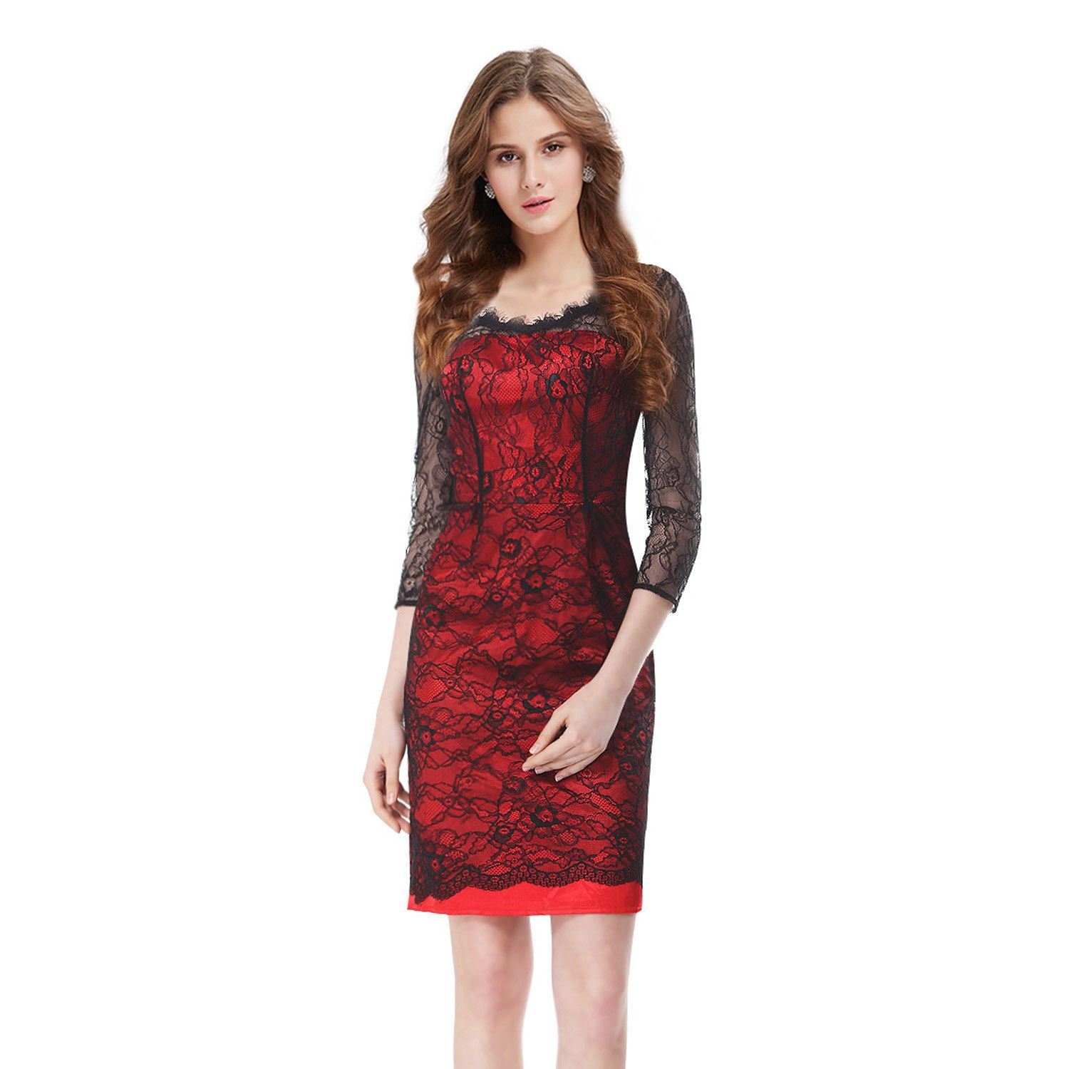 Nice everpretty us women red short lace sexy formal cocktail dress