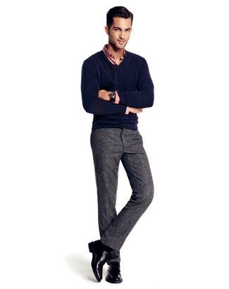 Men's Navy V-neck Sweater, Pink Long Sleeve Shirt, Grey Wool Dress ...