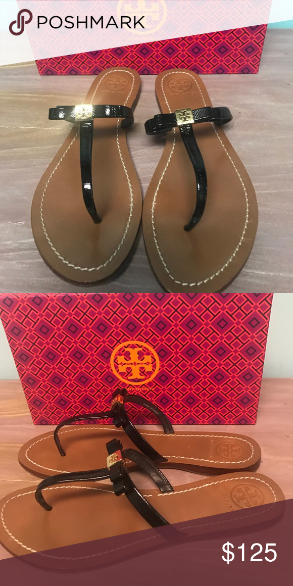 b739dc7c81b83b Tory Burch Leighanne Flat Thong-Patent Sandals Tory Burch Black Patent  Excellent condition Gold tone Inverted emblem on bow Patent Leather upper  with ...