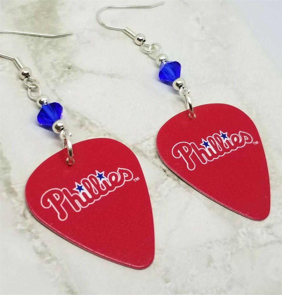 Mlb phillies guitar pick earrings with blue swarovski
