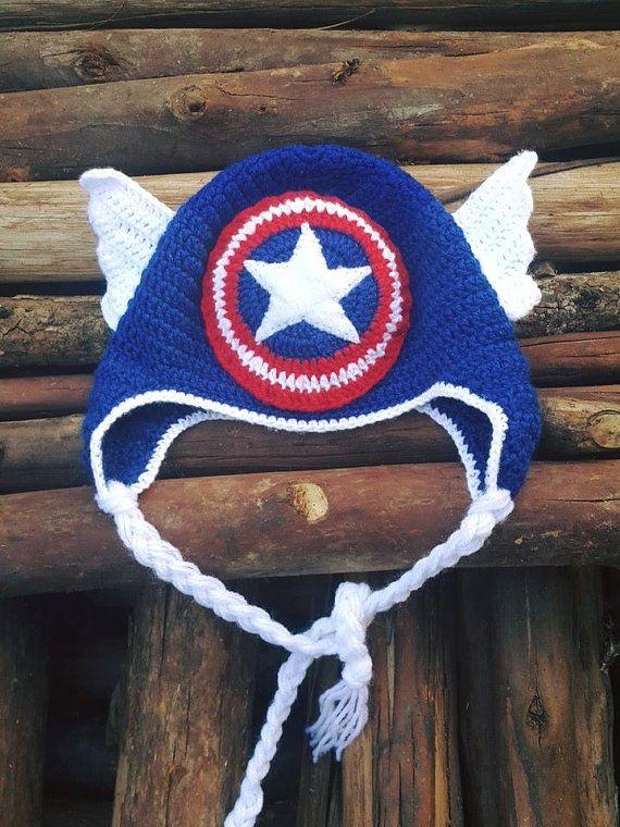 Crochet Baby Boy Capitan America Hat | Mütze, Strickanleitungen und ...