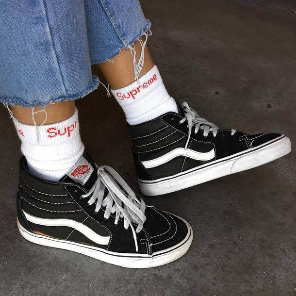 80 Old School Style High Top Black And White Platform Heel Vans Sneakers  Teamed With White And Red Supreme Socks And Blue Ripped Denim Jeans Tumblr e52bee21e107