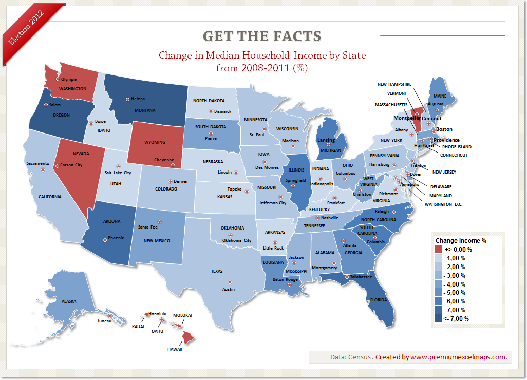 This Map Shows The Development Of Median Household Income By Sate Data Census Get The Facts Us Election